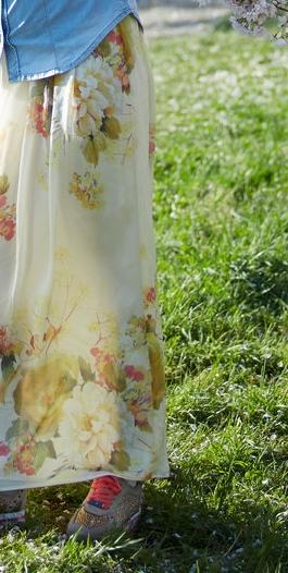 denim shirt ans silk skirt