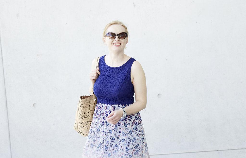 blue dress with bag